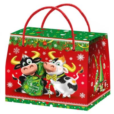 """Новогодняя упаковка """"ДУЭТ"""", 800 гр, картонная подарочная коробка для конфет, детских подарков, 2021 год быка"""