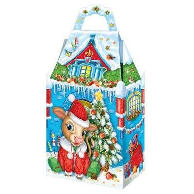 """Новогодняя упаковка """"Замок Снежок 1.0"""", 900-1000 гр, картонная подарочная коробка для детских подарков, конфет"""