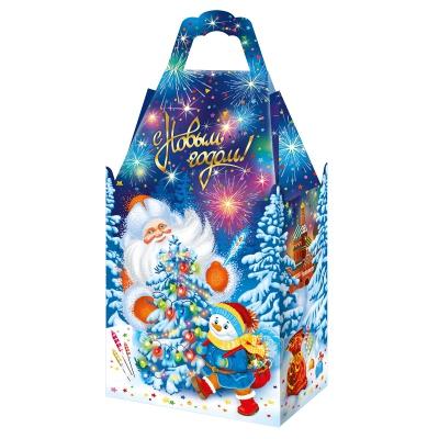 """Новогодняя подарочная упаковка """"Традиция 1.0"""", 900-1000 гр, картонная коробка для конфет, детских подарков"""