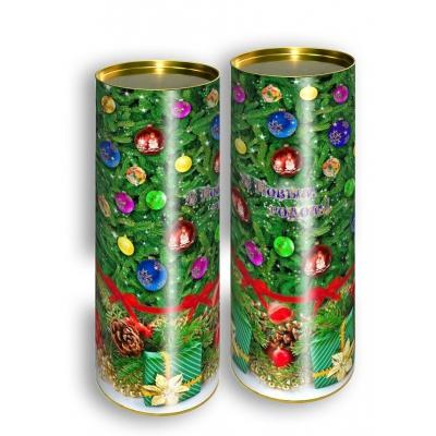 """Подарочные картонные тубы """"Ёлочка"""" без шнура 1500 гр, новогодняя упаковка, тубус для шампанского"""
