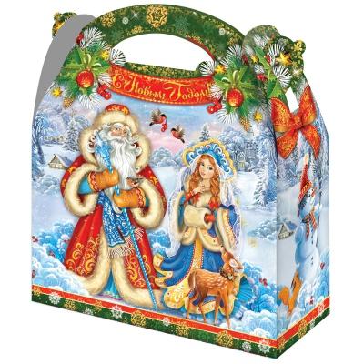 """Новогодняя упаковка  """"Ретро 1.5"""", 1500 гр, картонная подарочная коробка для конфет, детских подарков"""