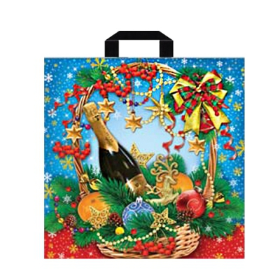 Подарочный новогодний пакет Шампанское 450х450 мм, 70 мкм, с петлевыми ручками, новогодняя упаковка