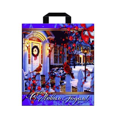 """Подарочный новогодний пакет """"Дворик"""" 40х42, 45 мкм, петлевые ручки, новогодняя упаковка"""