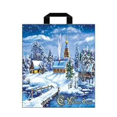 """Подарочный новогодний пакет """"Снежное царство"""" 40х42, 45 мкм, петлевые ручки, новогодняя упаковка"""