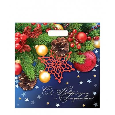 """Новогодний подарочный пакет """"Еловая фантазия"""" 45х45 см, 70 мкм, вырубные ручки"""