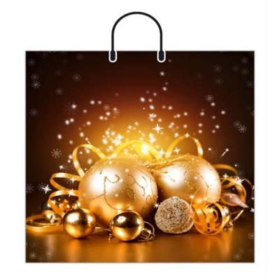 Пакет новогодний Золотые шары 38х35, 100 мкм