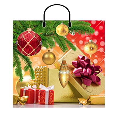 Пакет Новогодний подарок 38х35, 100 мкм