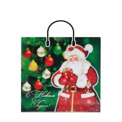 Новогодний подарочный пакет Дед Мороз 380х360 мм, 100 мкм, с пластиковыми ручками, новогодняя упаковка