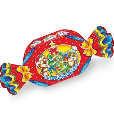 """Новогодняя подарочная коробка """"Конфетка красная"""" 700 гр, новогодняя упаковка для конфет"""