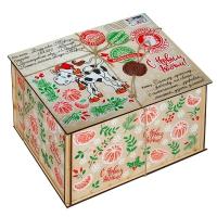 Посылка от Деда Мороза СИМВОЛ, 1500 г (УД0343), деревянная новогодняя упаковка 2021 год быка