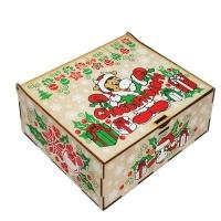 Шкатулка музыкальная, 800 г (УД0371), деревянная новогодняя упаковка 2021 год быка