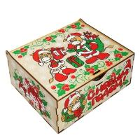 Шкатулка музыкальная, 1000 г (УД0372), деревянная новогодняя упаковка 2021