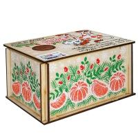 Посылка от Деда Мороза, 300 г (УД0376), деревянная новогодняя упаковка из фанеры, для подарков 2021 год быка