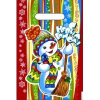 Пакет новогодний Разноцветный НГ, 20х30 см, 30мкм