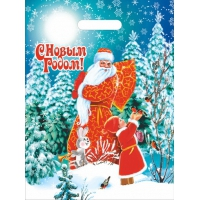 Пакет новогодний Зимнее ретро, 30х40 см, 35 мкм