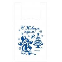 "Пакет-майка ""Снеговик с ёлкой"", 28+16х50, 12мкм"