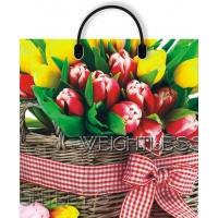 """Пакет """"Корзина с тюльпанами"""", 40х42, 100 мкм"""