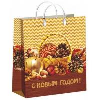 Пакет новогодний Лукошко, 30х40+10 см