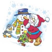 """Салфетки 25х25, 40 шт,1 сл, НГ """"Дед Мороз и снеговик"""""""