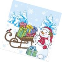 "Салфетки 25х25, 40 шт,1 сл, НГ ""Снеговик с подарками"""