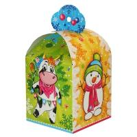 Новогодняя упаковка «МУ-МУ» 1000 гр, картонная подарочная коробка 2021 год быка, коровы