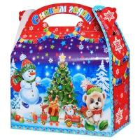 "Новогодняя упаковка ""Скоро-скоро НГ"", 1500 гр, картонная подарочная коробка для конфет"