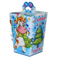 """Новогодняя упаковка """"ФИЕСТА"""", 700-800 гр, картонная подарочная коробка для конфет, 2021 год быка"""