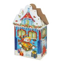 """Новогодняя упаковка """"Замок Снежок 2.0"""", 2000-2500 гр, картонная подарочная коробка для конфет"""