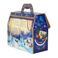 """Новогодняя упаковка с тиснением """"Портфельчик САНИ"""", 1600-1800 гр, картонная подарочная коробка для конфет"""