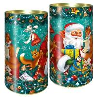"""Подарочные картонные тубы """"Дед мороз и лиса"""" 1000 гр"""