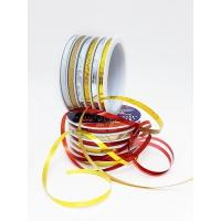 Декоративные подарочные ленты на шпуле 6шт*5мм*5м золото-серебро