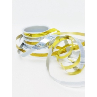 Декоративные подарочные ленты на шпуле 4шт 10мм*3м золото-серебро