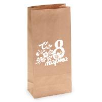 Пакет бумажный крафт на 8 марта, 140х95х305 мм