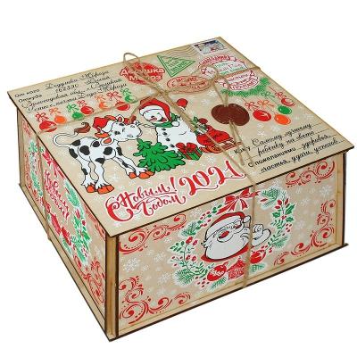 Посылка от Деда Мороза СИМВОЛ, 2000 г (УД0344), деревянная новогодняя упаковка 2021 год быка