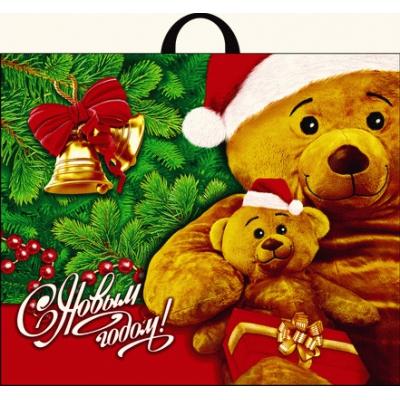 Пакет новогодний Медвежата 60х50, 70 мкм