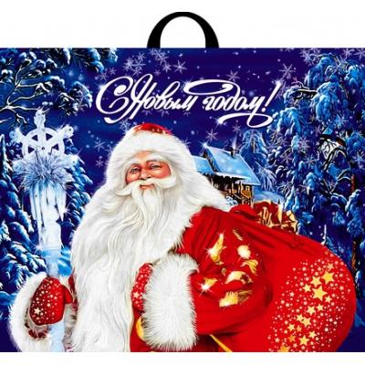 """Подарочный пакет """"Новогодний визит"""" 60х50 см, 70 мкм, петлевые ручки, новогодняя упаковка"""