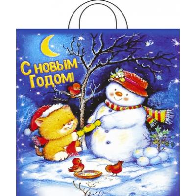 """Подарочный новогодний пакет """"Вечерок"""" 38х42, 40 мкм, новогодняя упаковка"""