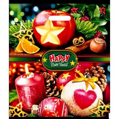 """Подарочный новогодний пакет """"Сочельник"""" 38х47, 60 мкм, прорубные ручки, новогодняя упаковка"""