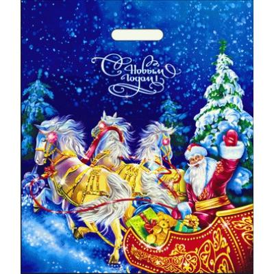 Пакет новогодний Сани 40х47, 45 мкм, полиэтиленовый пакет с вырубными ручками, новогодняя упаковка