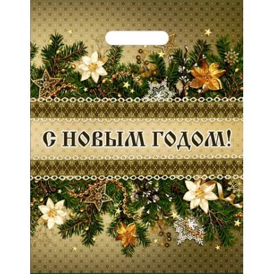 Пакет Новогодний декор  30х40, 35 мкм