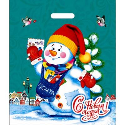 Новогодний подарочный пакет Снеговичок 400х470 мм, 45 мкм, вырубные ручки, новогодняя упаковка