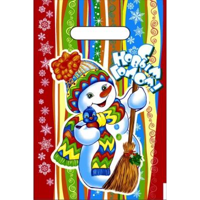 """Новогодний подарочный пакет """"Разноцветный НГ"""" 20х30, 30мкм, новогодняя упаковка"""