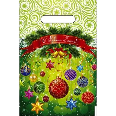Новогодний пакет Шарики-Фонарики 20х30 см, 30 мкм, с вырубной ручкой, новогодняя упаковка