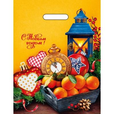 """Подарочный новогодний пакет """"Мандарины"""" 31х40, 60 мкм, вырубные ручки, новогодняя упаковка"""