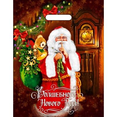 """Новогодний подарочный пакет """"Время волшебства"""" 31х40 см, 60 мкм, вырубные ручки, новогодняя упаковка"""