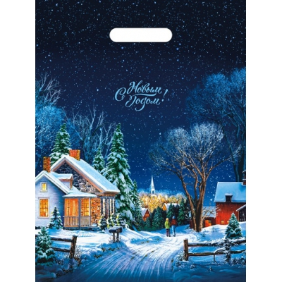 Пакет новогодний Снежная дорожка 30х40, 35 мкм, новогодняя упаковка