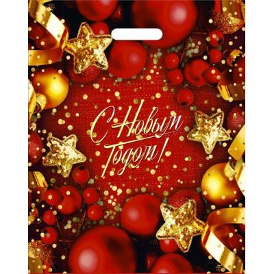 """Подарочный новогодний пакет """"Конфетти"""" 38х47 см, 60 мкм, новогодняя упаковка"""