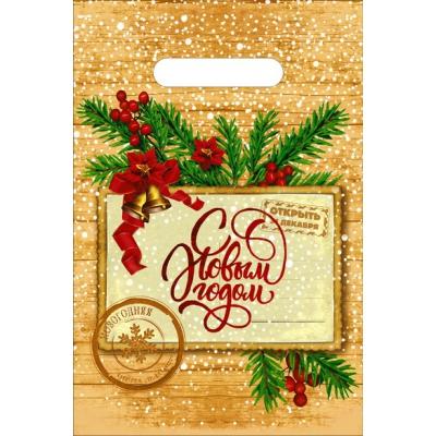"""Новогодний подарочный пакет """"Открытка"""" 20х30 см, 30 мкм, с вырубными ручками"""