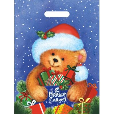 Новогодний подарочный пакет Мишутка 30х40, 35 мкм