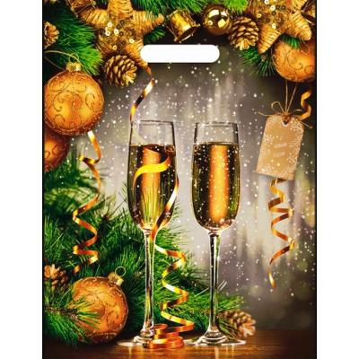 Пакет новогодний Звон бокалов, 31х40 см, 60 мкм
